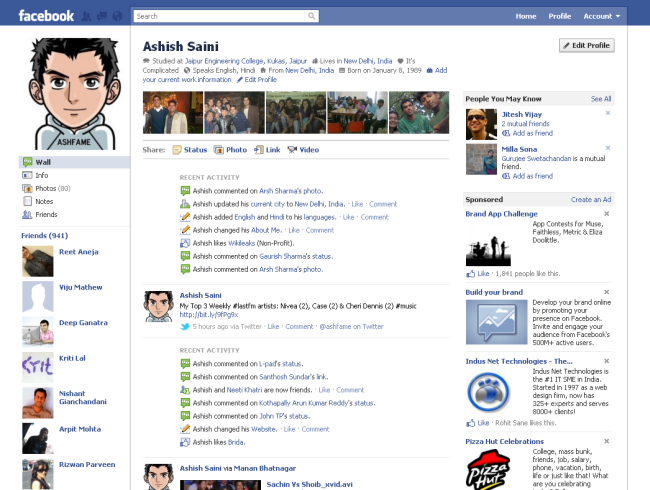gurileki: facebook profile layout