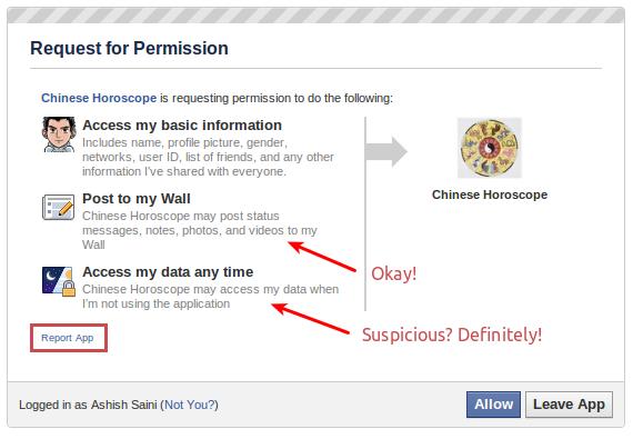 Facebook malicious app